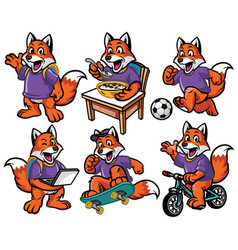 Cartoon character set of cute little fox vector