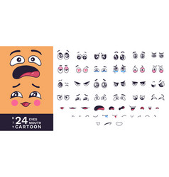Cartoon faces kit funny characters eyes and vector