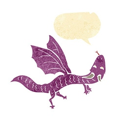 Cartoon little dragon with speech bubble vector