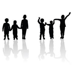 Children holding hands black silhouette vector