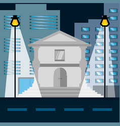 Cityscape building with street metropolis in the vector