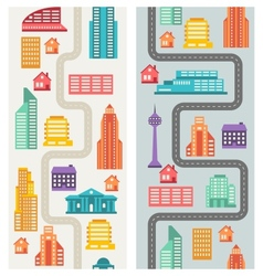 Cityscape seamless vertical banners with buildings vector