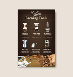 Coffee arabica roast beans burn with bag vector