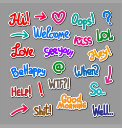 Colorful speech stickers vector