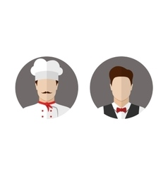 Cook and waiter icons vector image