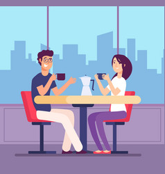 couple drinking coffee flirting woman and man vector image
