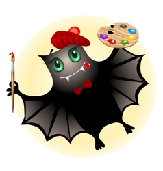 Cute bat artist vector