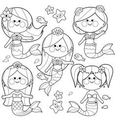cute mermaids vector image