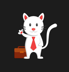 Cute white cat business man say hallo and waving vector