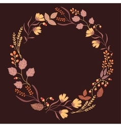 Dark autumn floral frame collection cute set with vector