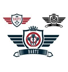 Darts sporting emblems vector image