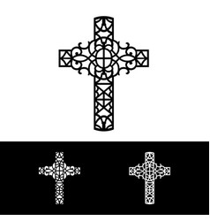 Decorative cross of silhouette vector