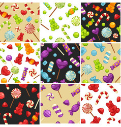 delisious sweet candies and lollipops in seamless vector image