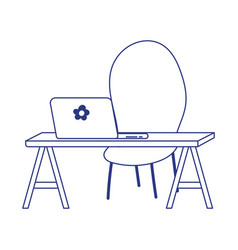 Desk with laptop and chair design vector