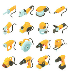Electric tools icons set isometric cartoon style vector