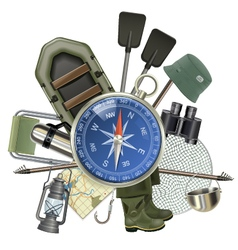 Fishing Tackle with Compass vector