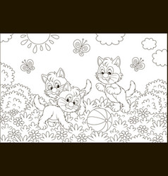 funny little kittens playing with a ball vector image