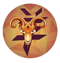 Goat with chinese hieroglyph vector