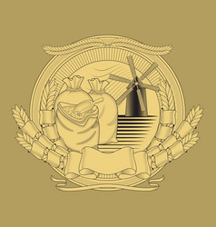 grain bags mill on coat arms image vector image
