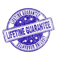 Grunge textured lifetime guarantee stamp seal vector