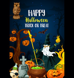 Halloween holiday night party invitation poster vector