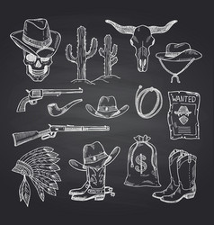 hand drawn wild west cowboy set vector image