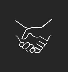 handshake chalk white icon on black background vector image