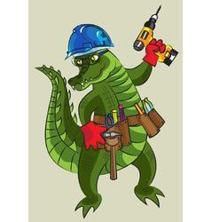 Happy crocodile builder vector image vector image