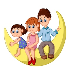 Happy family sit on the moon vector