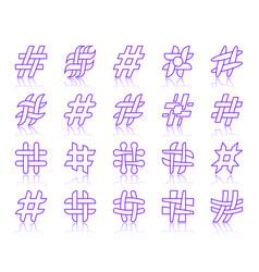 hashtag simple color line icons set vector image