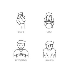 Human behaviour pixel perfect linear icons set vector