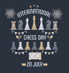 International chess day is celebrated annually on vector