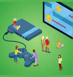 isometric people playing video games on console vector image