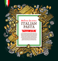 Italian pasta and spaghetti sketch poster vector