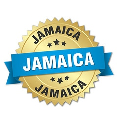 Jamaica round golden badge with blue ribbon vector
