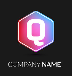 letter q logo symbol in colorful hexagonal vector image