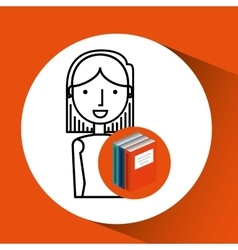 Library books school girl student vector