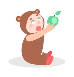 little child in bear suit with apple cartoon icon vector image