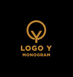 luxury initial y logo design icon element isolated vector image