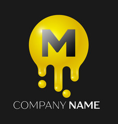 m letter splash logo yellow dots and bubbles vector image vector image
