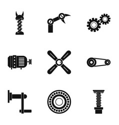 Mechanism parts icon set simple style vector