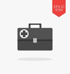 Medical briefcase first aid kit icon Flat design vector