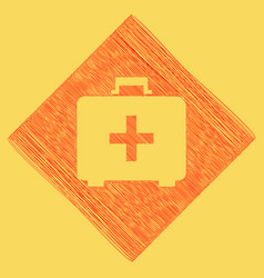 medical first aid box sign red scribble vector image vector image