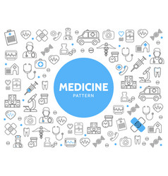 Medicine line icons pattern vector