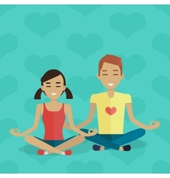 Meditation Concept in Flat Design vector image