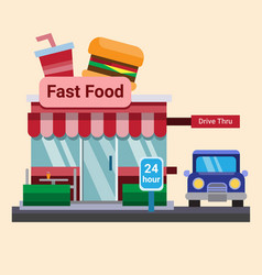 Modern flat commercial restaurant fast food burger vector