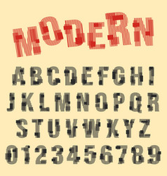 Modern font alphabet set of letters and numbers vector