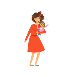Mother with disheveled hair holding her little vector