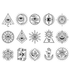 mystical symbols occult emblems meditation magic vector image