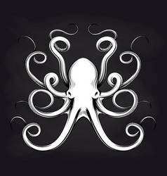 octopus sketch design on blackboard vector image